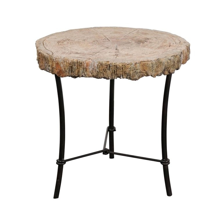 Antique French 1920S Faux Bois Stone Round Side Table On Custom Made With Regard To Faux Bois Coffee Tables (View 34 of 40)