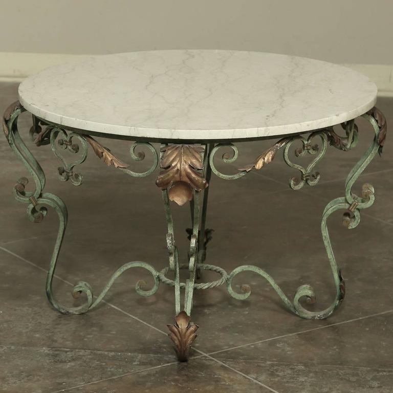 Antique Italian Hand Painted Wrought Iron And Cararra Marble Coffee Regarding Iron Marble Coffee Tables (Image 2 of 40)