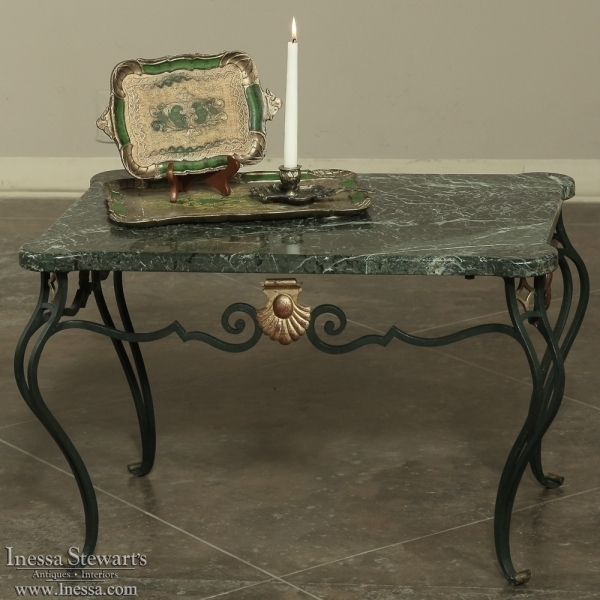 Antique Italian Wrought Iron Marble Top Coffee Table – Inessa With Iron Marble Coffee Tables (Image 3 of 40)