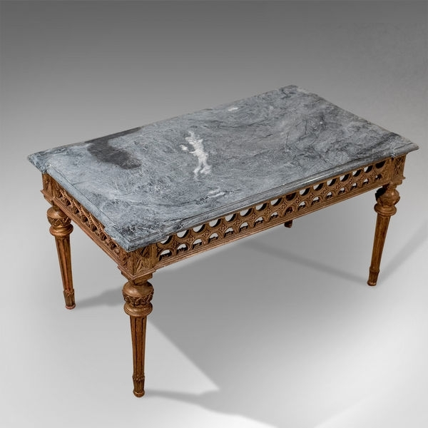 Antique Marble Top Gilt French Coffee Occasional Side Table Art Deco Regarding Antiqued Art Deco Coffee Tables (Image 8 of 40)