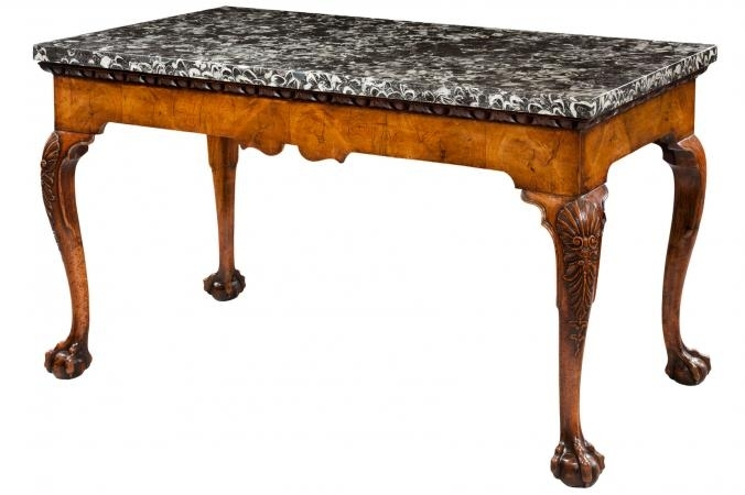 Antique Marble Top Tables Regarding Slab Small Marble Coffee Tables With Antiqued Silver Base (Image 2 of 40)