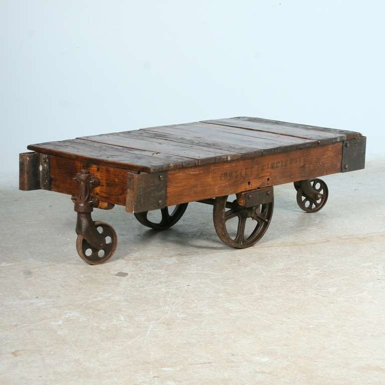 Antique Vintage Luggage Cart Coffee Table Circa 1920 With Cast Iron Intended For Reclaimed Elm Cast Iron Coffee Tables (View 17 of 40)