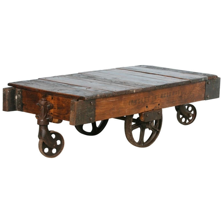 Antique Vintage Luggage Cart Coffee Table Circa 1920 With Cast Iron Regarding Reclaimed Elm Cast Iron Coffee Tables (View 33 of 40)