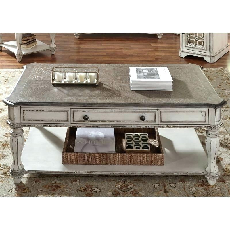 Antique White Coffee Table End Table – Spiritualhomes (Image 3 of 40)