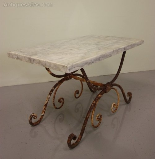 Antique Wrought Iron & Marble Coffee Table (Image 4 of 40)