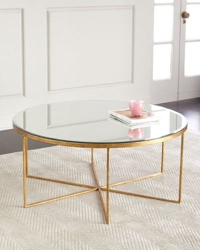 Antiqued Coffee Table | Neiman Marcus Regarding Large Slab Marble Coffee Tables With Antiqued Silver Base (Image 1 of 40)