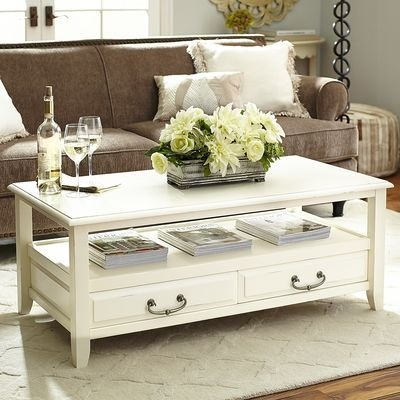 Anywhere Antique White Coffee Table With Pull Handles | Living Room Within Natural 2 Drawer Shutter Coffee Tables (Image 4 of 40)