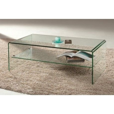 Arch All Glass Waterfall Coffee Table With Shelf (Image 2 of 40)