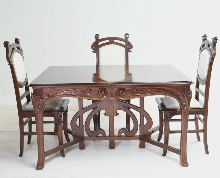 Art Nouveau Dining Suite With Six Chairs And Extension Table, France In Antiqued Art Deco Coffee Tables (Image 19 of 40)