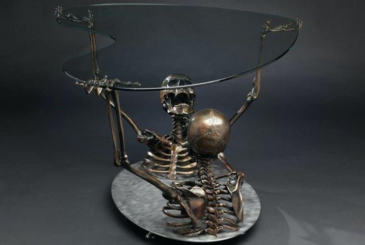 Art Weird Dark Skeleton Furniture Sculptures Man Of Steel Asylum Mt In Cacti Brass Coffee Tables (Image 8 of 40)