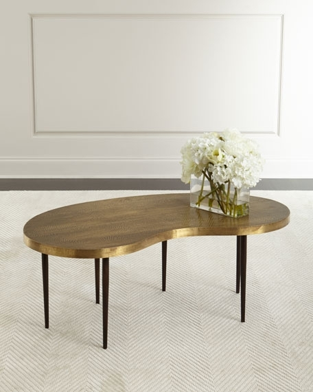 Arteriors Rein Brass Coffee Table Neiman Marcus Pertaining To Ideas In Darbuka Brass Coffee Tables (View 10 of 40)