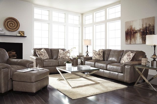 "Ashley ""donnell Granite"" Sofa, Loveseat, Chair & Ottoman – Living Intended For Donnell Coffee Tables (Image 8 of 40)"