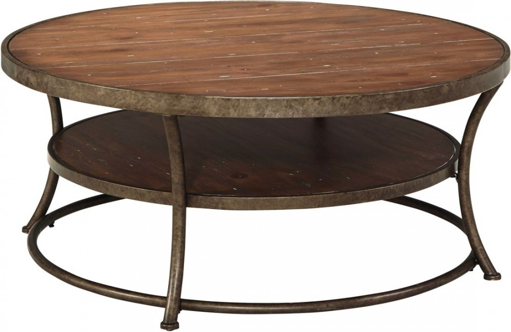 Ashley Furniture Nartina Round Cocktail Table In Light Brown | Local With Jaxon Cocktail Tables (View 24 of 40)