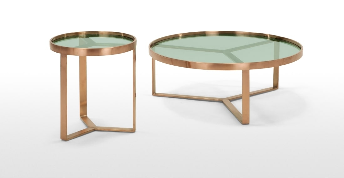 Aula Nesting Coffee Table, Copper And Green Glass | Made For Set Of Nesting Coffee Tables (View 40 of 40)