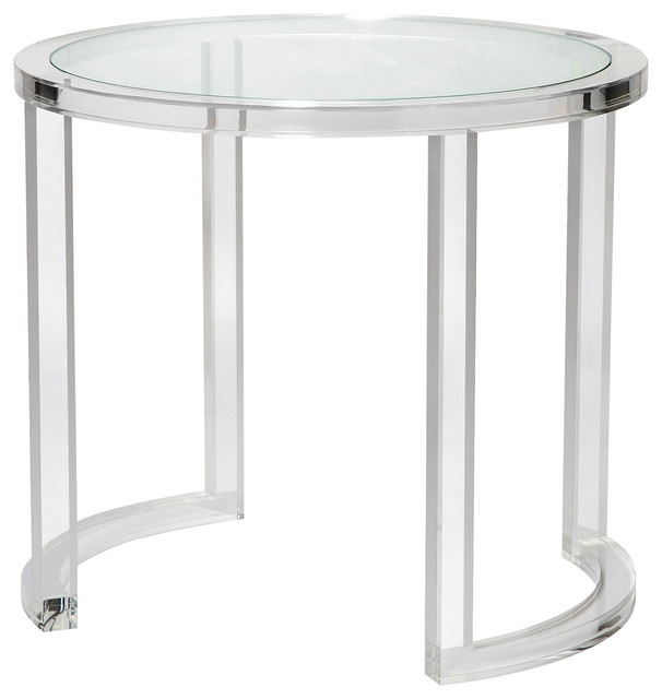 Ava Modern Acrylic Clear Glass Round Center Table – Modern – Side Inside Modern Acrylic Coffee Tables (Image 7 of 40)