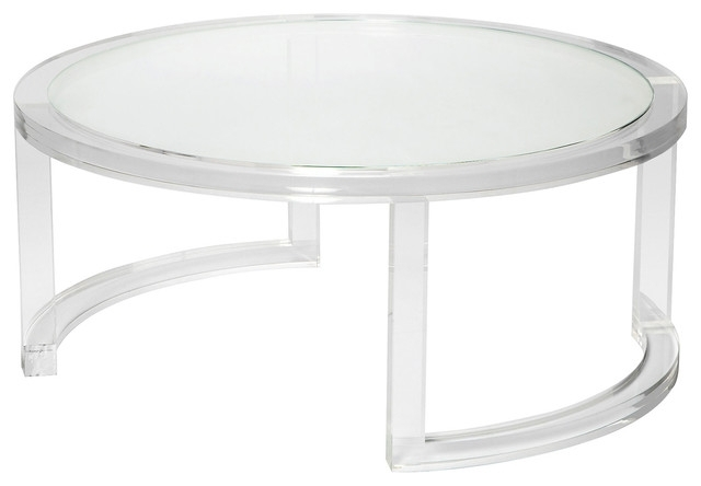 Ava Modern Round Clear Glass Acrylic Coffee Table – Modern – Coffee Pertaining To Modern Acrylic Coffee Tables (Image 8 of 40)
