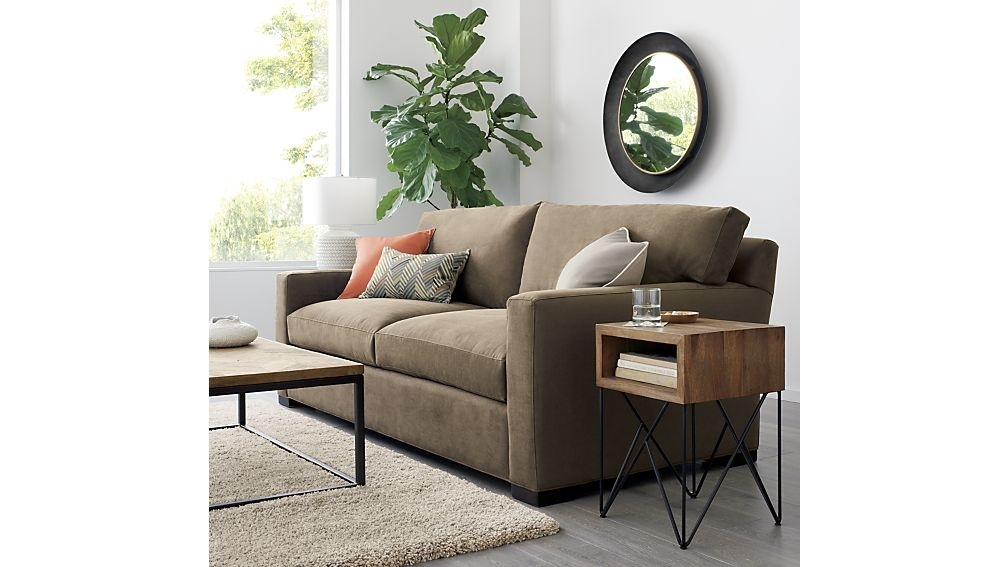 Axis Ii 2 Seater Brown Microfiber Sofa + Reviews | Crate And Barrel Pertaining To Axis Cocktail Tables (View 15 of 40)