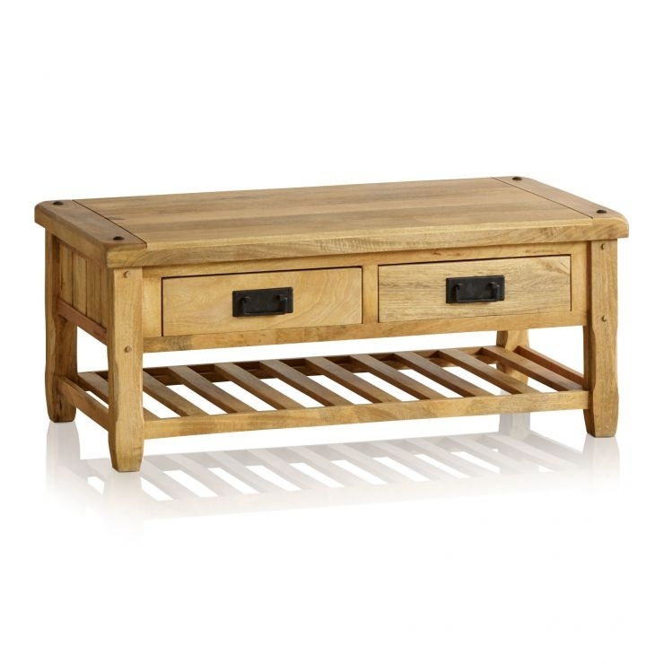 Baku Light Coffee Table With 4 Drawers In Natural Solid Mango In Light Natural Coffee Tables (View 4 of 40)