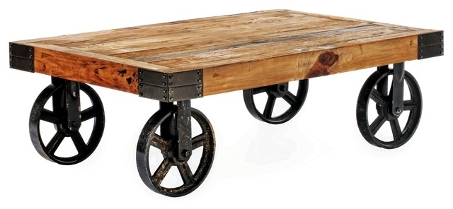 Barbary Coast Cart Table, Distressed Naturalzuo Modern Intended For Natural Wheel Coffee Tables (Image 3 of 40)