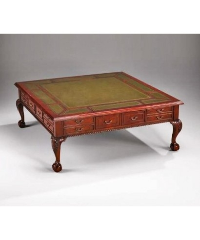 Bc Chippendale Leather Top Square Traditional Coffee Table – House With Traditional Coffee Tables (View 38 of 40)