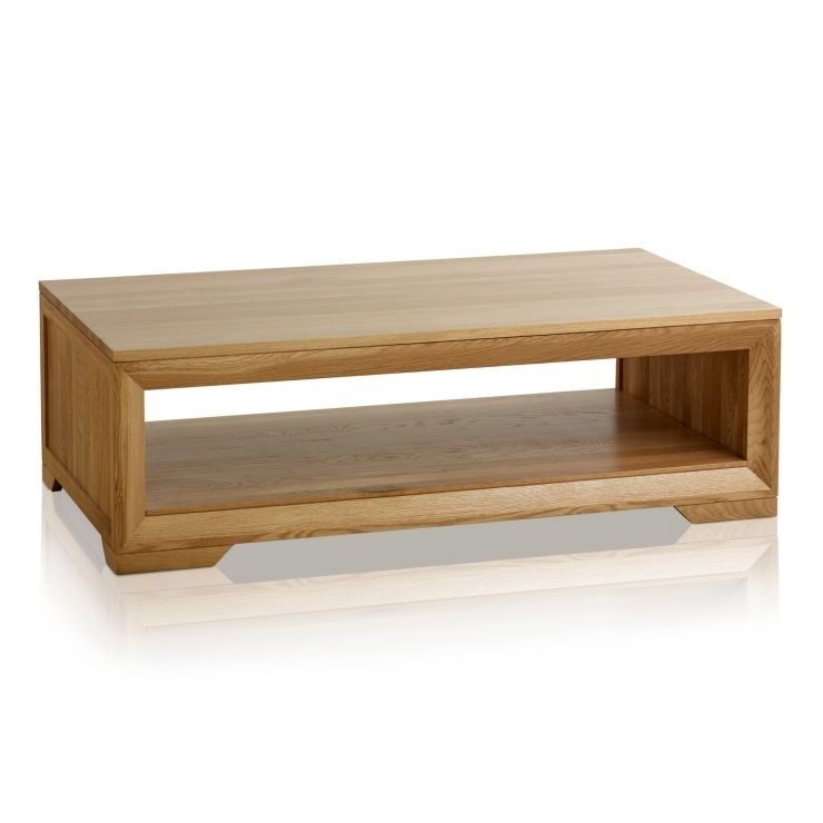 Bevel Coffee Table In Solid Oak | Oak Furniture Land With Regard To Natural 2 Drawer Shutter Coffee Tables (Image 5 of 40)