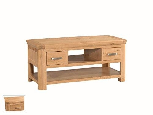 Bevel Natural Solid Waxed Oak Storage Coffee Table Drawers Shelf For Light Natural Coffee Tables (View 25 of 40)