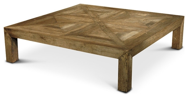 Birkby Rustic Lodge Natural Elm Parquet Square Coffee Table – Rustic Intended For Parquet Coffee Tables (Image 7 of 40)