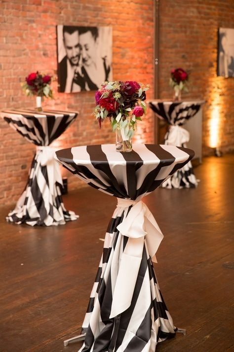 Black And White Cocktail Table Linens | Burgundy Bouquet | Axis For Axis Cocktail Tables (View 13 of 40)