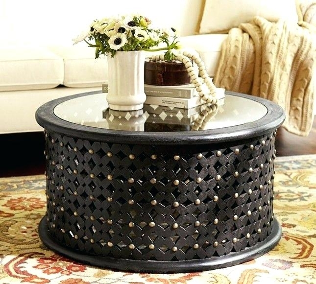 Black Circle Coffee Table Round Carved Wood Coffee Table With Glass In Round Carved Wood Coffee Tables (Image 2 of 40)