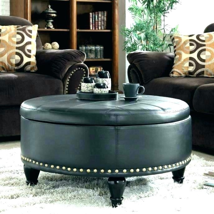 Black Leather Ottoman With Storage Y4135 Present Black Leather With Round Button Tufted Coffee Tables (Image 5 of 40)