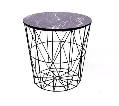 Black Metal Wire Side Table Marble Top Basket Storage Modern Inside Black Wire Coffee Tables (Image 3 of 40)