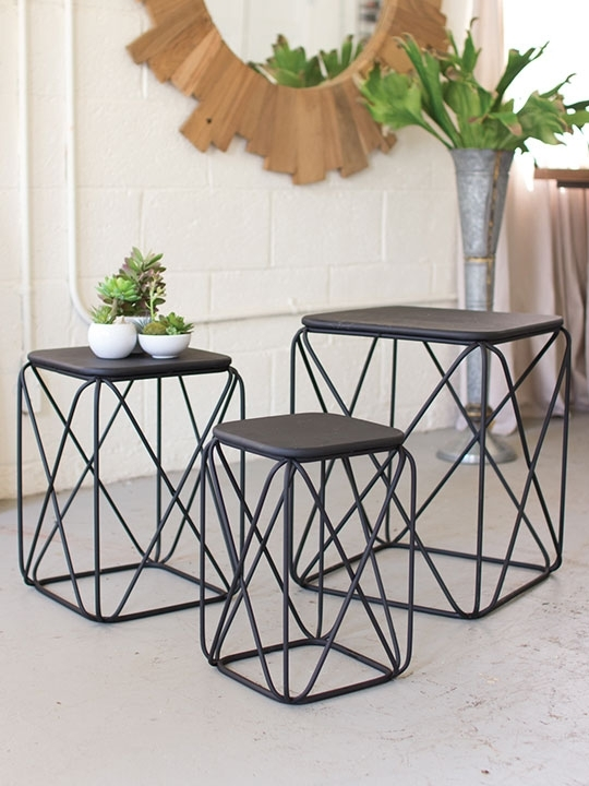Black Metal Wire Table 3 Set | Brickell Collection Intended For Black Wire Coffee Tables (Image 4 of 40)