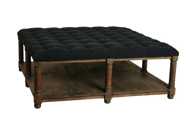 Black Tufted Ottoman Coffee Table Living Large Fabric Center Leather For Button Tufted Coffee Tables (View 22 of 40)