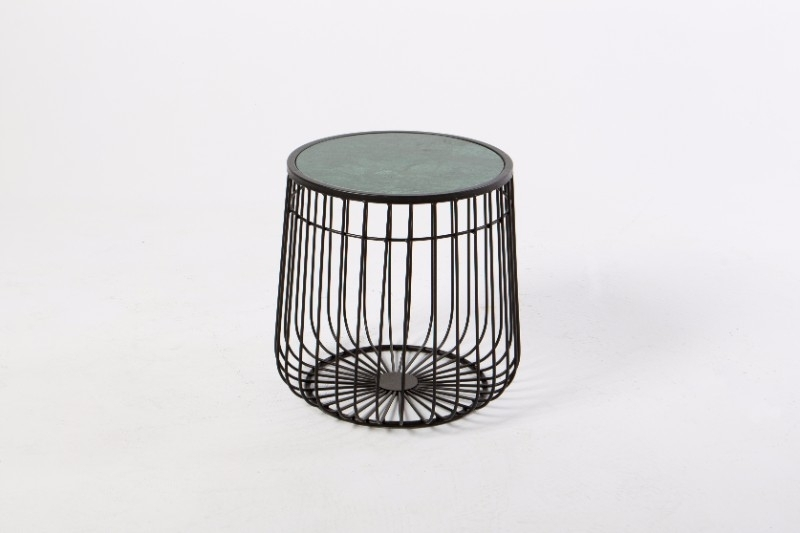 Black Wire Frame Side Table With Green Marble Top | Hire Society Within Black Wire Coffee Tables (Image 11 of 40)