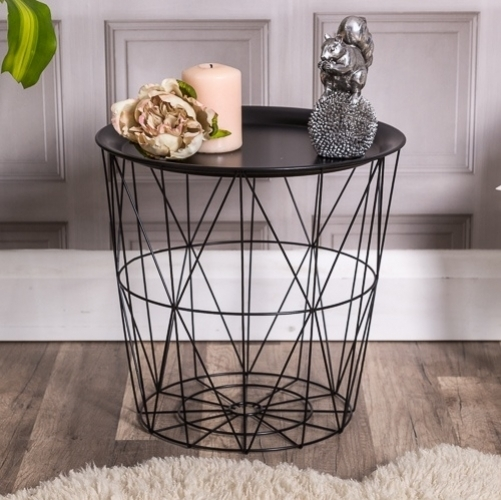 Black Wire Side Table Basket/living Room Within Black Wire Coffee Tables (Image 12 of 40)