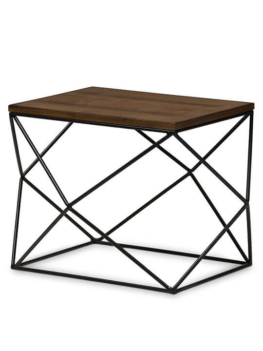 Black Wire Wood Geo Side Table | Modern Furniture • Brickell Collection Inside Black Wire Coffee Tables (Image 14 of 40)