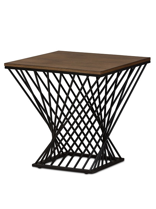 Black Wire Wood Twist Side Table | Modern Furniture • Brickell Within Black Wire Coffee Tables (Image 15 of 40)