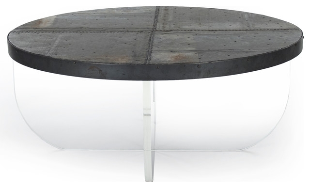 Blaine Modern Acrylic Zinc Top Round Coffee Table – Industrial For Modern Acrylic Coffee Tables (Image 9 of 40)