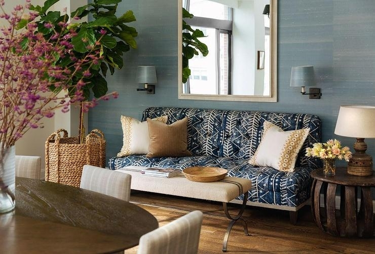 Blue Batik Sofa With French Burlap Bench As Coffee Table In Batik Coffee Tables (Image 9 of 40)