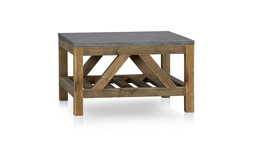 Bluestone Square Coffee Table + Reviews | Crate And Barrel In Recycled Pine Stone Side Tables (View 2 of 40)