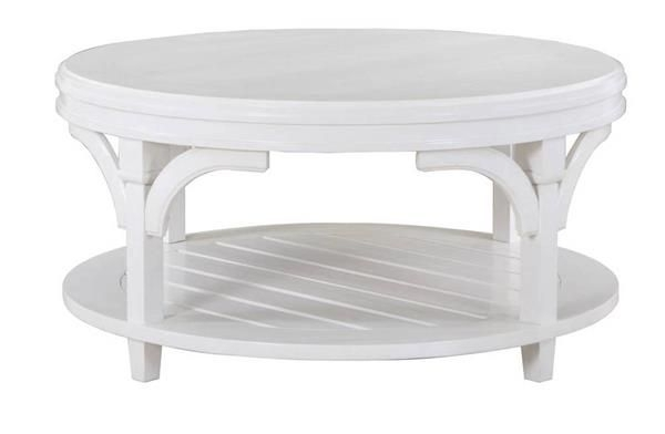 Boathouse Coastal/cottage White Wood Round Cocktail Table W/casters Throughout Ontario Cocktail Tables With Casters (Image 5 of 40)