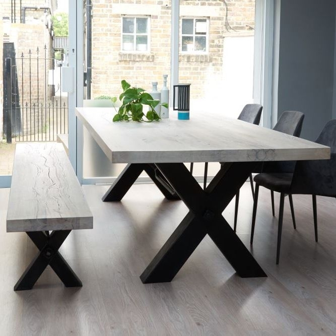 Bolt Solid Wood & Metal Dining Table … | Nice Furniture For Your In 33 Inch Industrial Round Tables (View 14 of 40)
