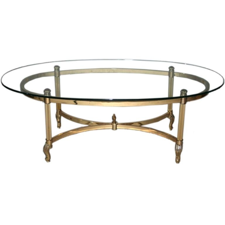 Brass And Chrome Glass Top Oval Coffee Table In 2018 | Recipes To With Antique Brass Coffee Tables (View 2 of 40)