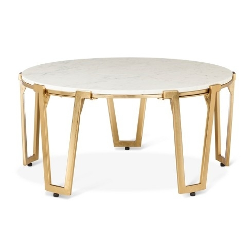 Brass And Marble Coffee Table Nate Berkus Target Regarding Plans Regarding Darbuka Brass Coffee Tables (View 26 of 40)