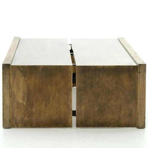 Brass And Wood Coffee Table – Touchshoot Regarding Weaver Dark Rectangle Cocktail Tables (Image 12 of 40)