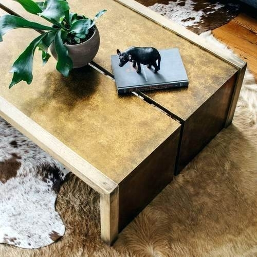 Brass And Wood Coffee Table Weaver Antiqued Brass Clad Oak Wood In Joni Brass And Wood Coffee Tables (Image 19 of 40)