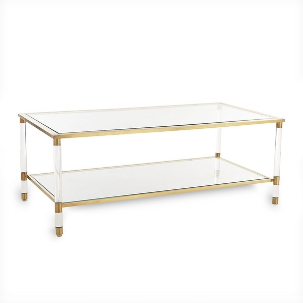 Brass Glass Coffee Table Rectangular Finish And Wisteria Designs Inside Rectangular Brass Finish And Glass Coffee Tables (View 11 of 40)
