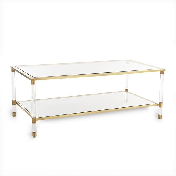 Brass Glass Coffee Table Rectangular Finish And Wisteria Designs Inside Rectangular Brass Finish And Glass Coffee Tables (Image 3 of 40)
