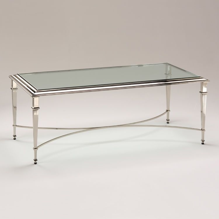 Brass/ Polished Nickel Finish Glass Coffee Table,48'' X (View 5 of 40)