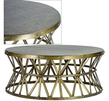 Brass Round Coffee Table Dovetail Round Coffee Table Iron Marble For Antique Brass Coffee Tables (Image 9 of 40)